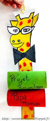 activité enfant atelier recyclage girafe en carton
