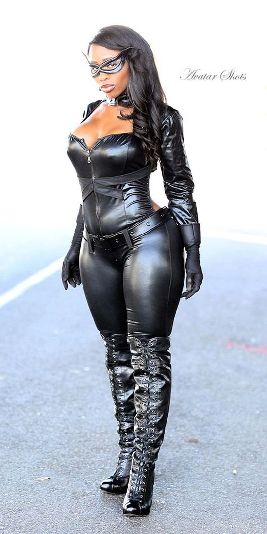 cosplay style catwoman in black tight latex outfit with curves