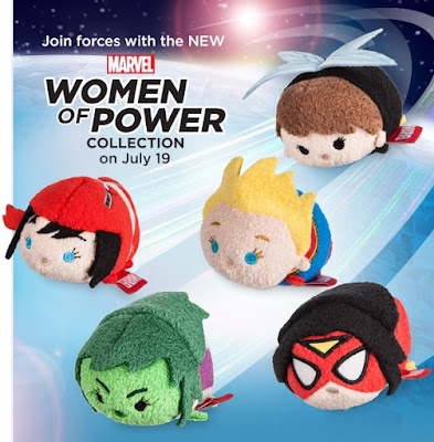 "Marvel ""Women of Power"" Tsum Tsum Plush Series by Disney - Captain Marvel, Wasp, She-Hulk, Spider-Woman & Elektra"