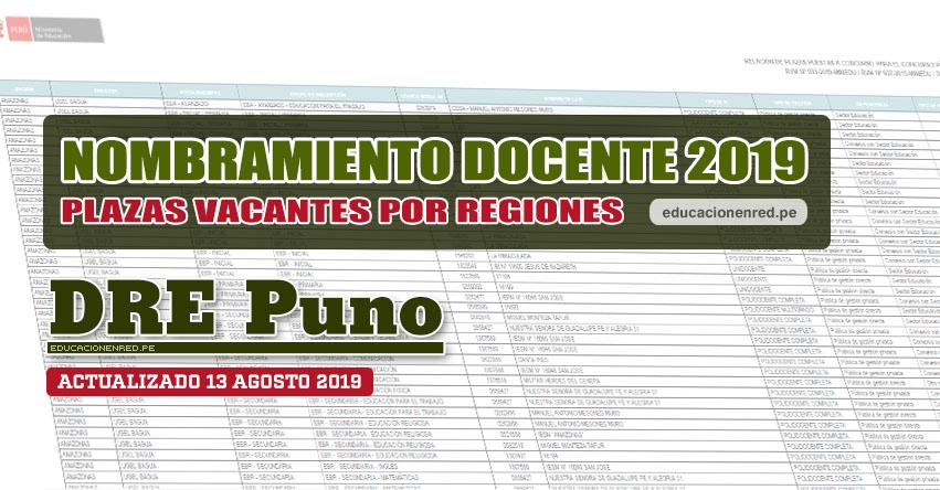DRE Puno: Plazas Vacantes para Nombramiento Docente 2019 (.PDF ACTUALIZADO MARTES 13 AGOSTO) www.drepuno.gob.pe