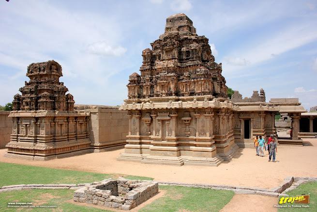 Hazara Rama temple and the Devi shrine beside it, at World Heritage Site Hampi, Vijayanagara