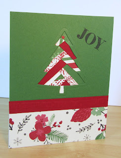Christmas Card by Judy Arawinko featuring an Iris Fold with a christmas tree shaped hole made with the Peaceful Pines dies