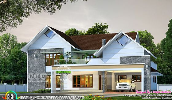 2667 sq-ft Sloped roof house plan