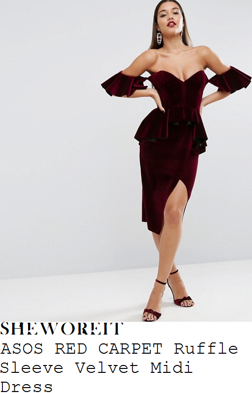 chloe-sims-asos-red-carpet-claret-ruby-red-off-the-shoulder-plunge-front-sweetheart-neckline-ruffle-frill-sleeve-and-waist-trim-detail-velvet-pencil-midi-dress