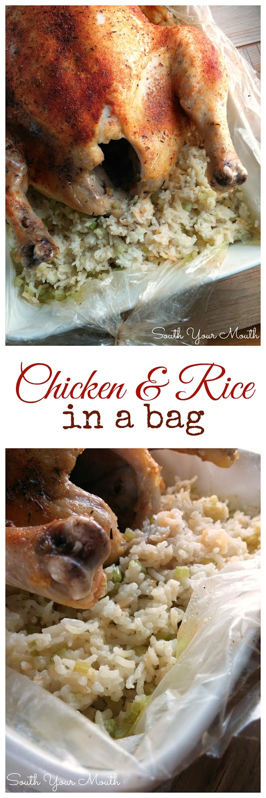Chicken & Rice in a Bag! An easy one-pan supper recipe for chicken that cooks up moist and tender like a rotisserie chicken that's surrounded by mounds of flavorful rice!