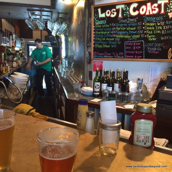 bar menu at Lost Coast Brewery & Cafe in Eureka, California