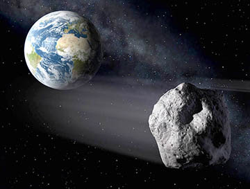 An artist's view of an Earth-approaching asteroid passing close to our planet. ESA / P.Carril