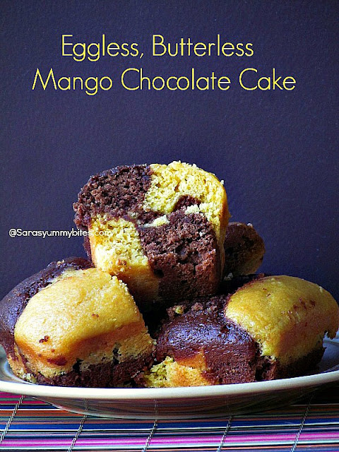 Eggless, Butterless Mango Chocolate Cake