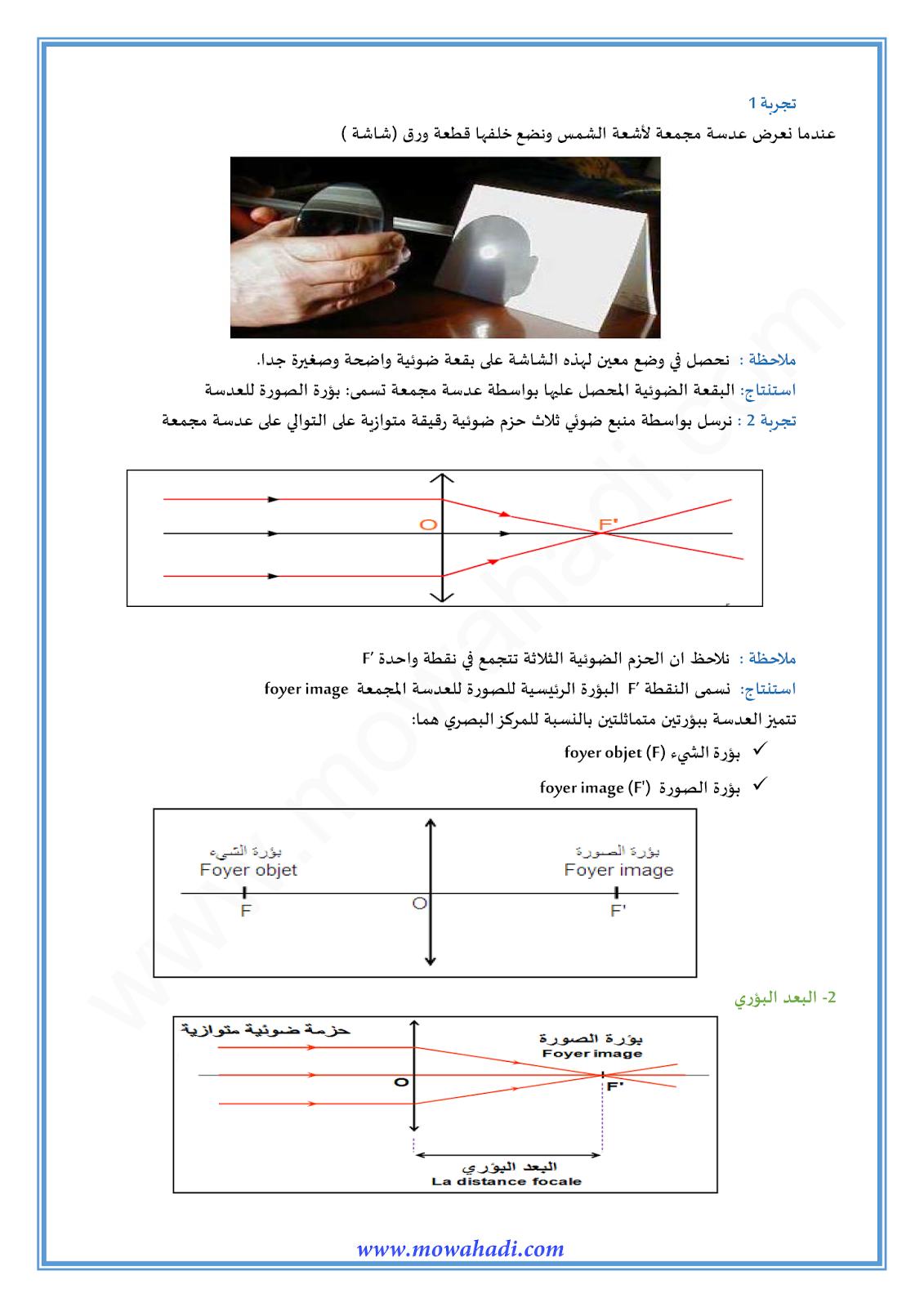 العدسات الرقيقة :الانشاء الهندسي للصورة-1