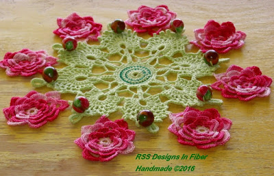 Beaded Cluny Lace Doily with Irish Crochet Roses - Light Green and Pink - Handmade By Ruth Sandra Sperling of RSS Designs In Fiber