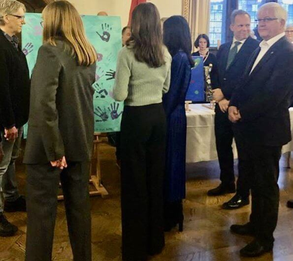 Crown Princess Mary, as patron of SIND and Psykiatrifonden. H&M Cashmere Sweater Turquoise melange