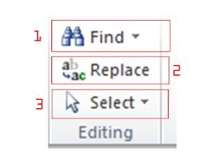 fungsi dari find, replace, dan select