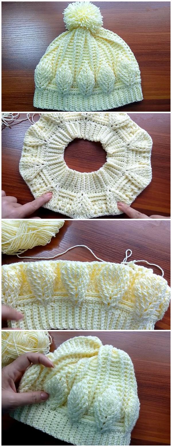Crochet Leaf Stitch Hat