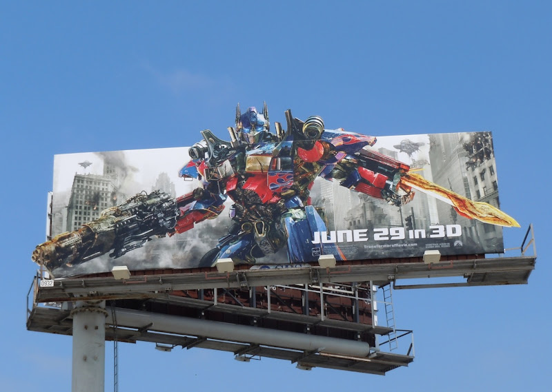 Optimus Prime Transformers 3 movie billboard