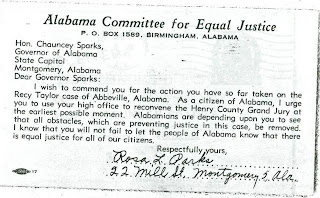 Letter Rosa Parks to Alabama Governor Chauncey Sparks From: Scottsboro Stories
