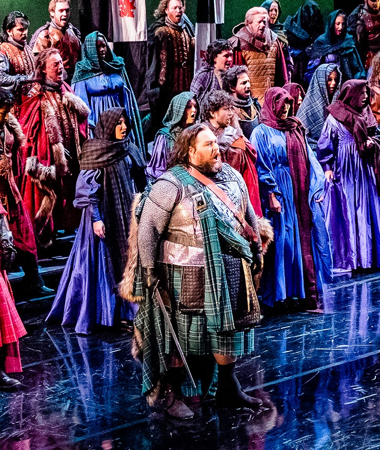IN REVIEW: tenor JONATHAN KAUFMAN as Malcolm (center) in Opera Carolina's November 2019 production of Giuseppe Verdi's MACBETH [Photograph © by Bob Grand Lubell & Opera Carolina]