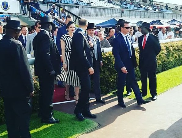 Princess Charlene Ladies Race Day that held at the Turffontein Racecourse in Johannesburg. Princess Charlene wore Akris dress
