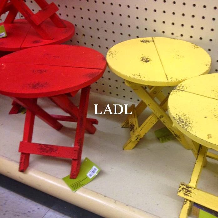 Hobby Lobby Had These Wooden Folding Tables In The Spring Section. Four  Colors.