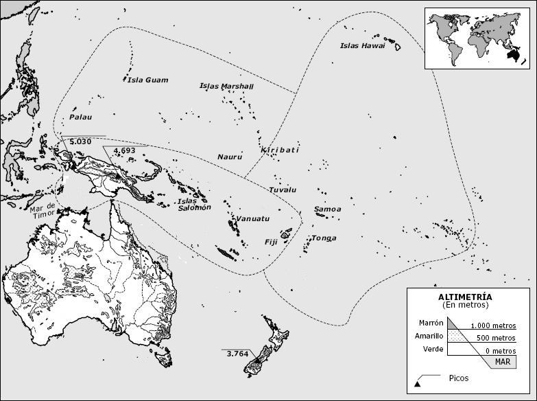 Mapa Oceania Fisico Mudo.Mapa Mudo Fisico De Oceania Para Imprimir En Color