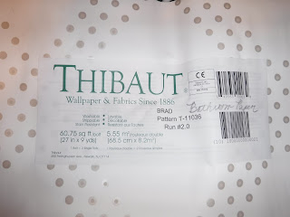 Thibaut wallpaper, papering switch plates, residential, tn wallpaper hanger,BRAD, Pearl on White, T11036, Collection Geometric Resource 2 from Thibaut