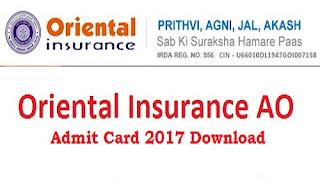 Oriental Insurance AO Admit Card 2017