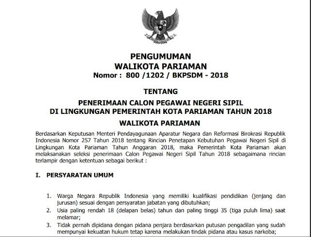 Formasi CPNS Kota Pariaman 2018
