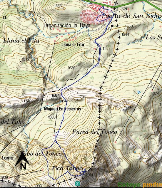 Map IGN de la ruta señalizada al Pico Toneo junto a la Estación de San Isidro.