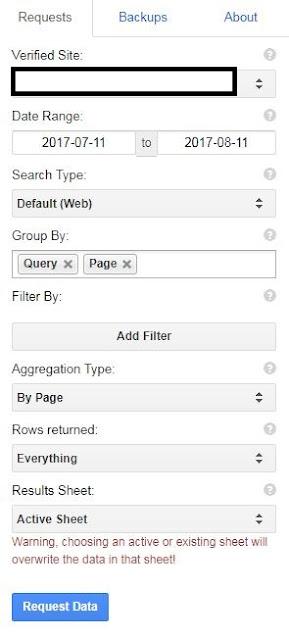 用Search Analytics for Sheets抓取關鍵字設定