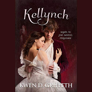 Kellynch: Sequel to Jane Austen's Persuasion audiobook cover. A couple in regency dress embrace. The woman is wearing an ivory gown and the man is wearing a  burgundy jacket.