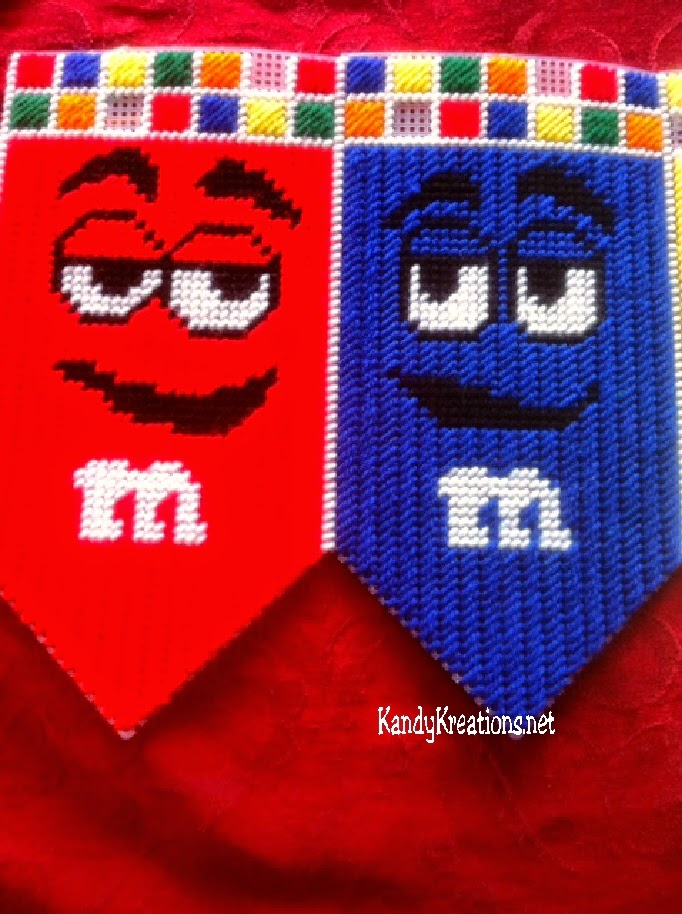 M&M Characters Red and Blue Banner Plastic Canvas Pattern