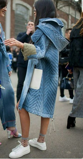 denim street style obsession / coat and white sneakers