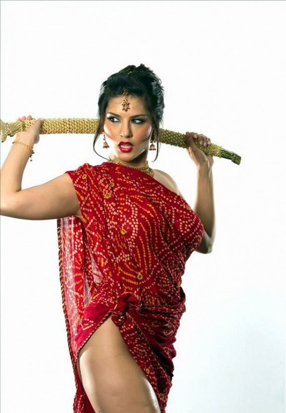 Kashmira Shah Sunny Leone Hot Cleavage In Red Dress