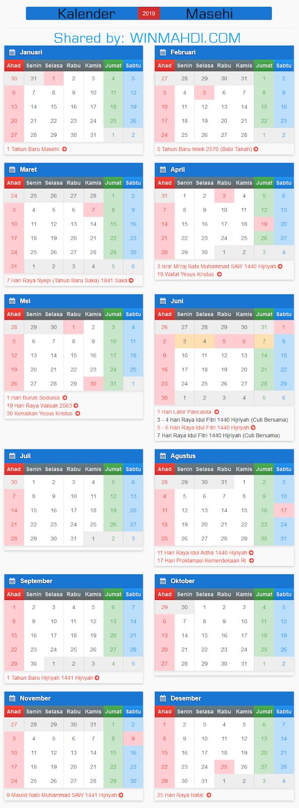 Kalender Masehi Terbaru 2019