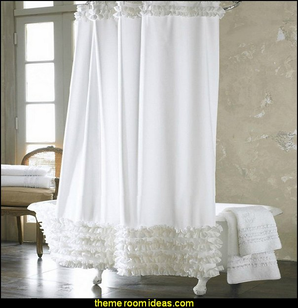 White Ruffles Shower Curtain Shower Curtain Liner Water Repellent Mildew-Free Polyester Fabric Bathroom Curtain