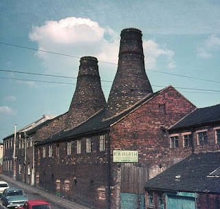 Fenton Updraught stack bottle ovens in Park Lane.  Photo taken from Plaza Cinema