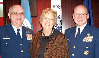Commodore Mallison with wife Wanda and Coast Guard Commandant Papp