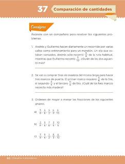 Apoyo Primaria Desafíos Matemáticos 5to. Grado Bloque III Lección 37 Comparación de cantidades