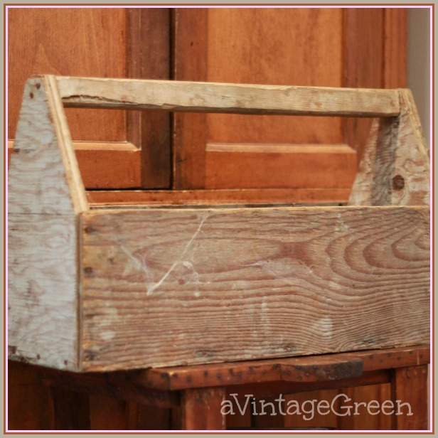 A Vintage Green Rusty Junk Wooden Tool Box