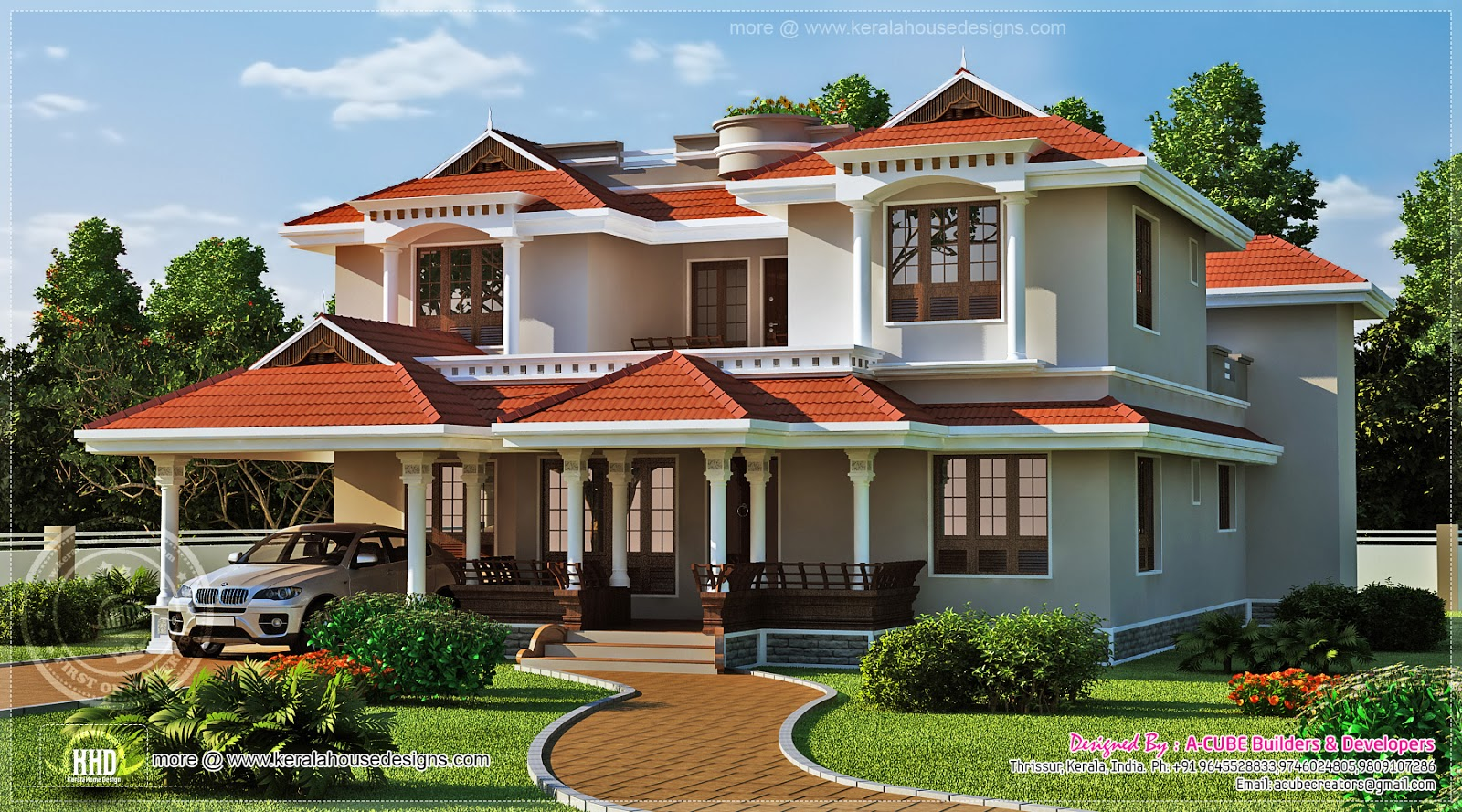 Beautiful home exterior in 2446 square feet kerala home for Beautiful building plans