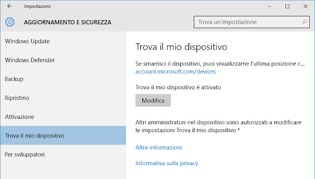 Windows 10 Update Trova il mio dispositivo