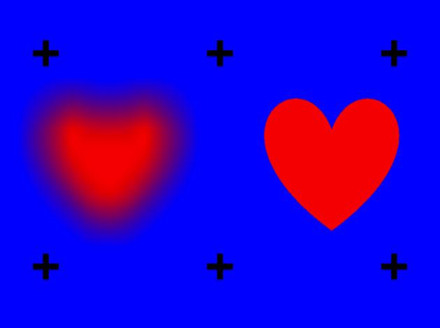 Mavi bir alan üzerinde biri net diğeri bulanık olan iki kırmızı kalp ve çevresindeki siyah artılar
