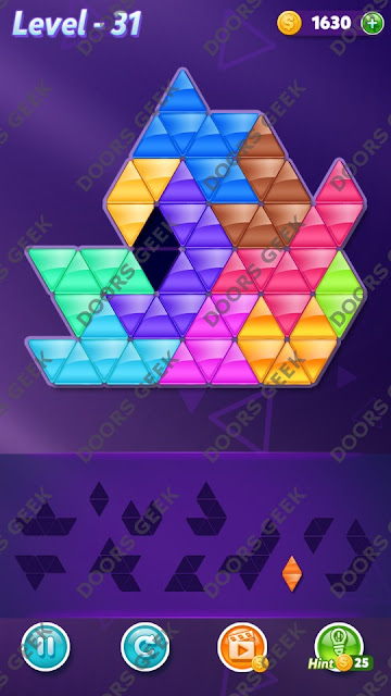 Block! Triangle Puzzle Challenger Level 31 Solution, Cheats, Walkthrough for Android, iPhone, iPad and iPod