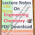 Lecture Notes on Engineering Chemistry - I PDF