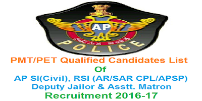 PMT/PET Qualified candidates of AP SI RSI Deputy Jailor & Assistant Matron