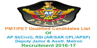 PMT/PET Qualified candidates of AP SI RSI Deputy Jailor & Assistant Matron