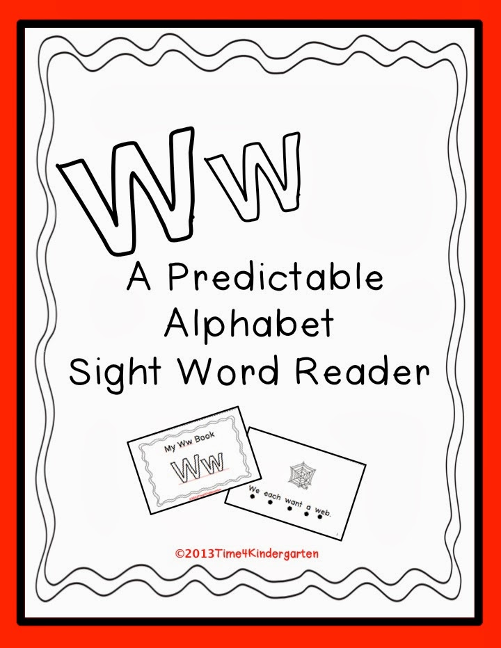 Letter W book with predictable text using sight words.