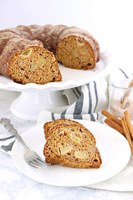 Apple Cider Spiced Donut Cake from LoveandConfections.com #AppleWeek #sponsored