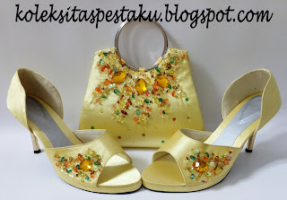 Sepatu Pesta Tas Pesta Domet Clutch Bag Warna Kuning Cantik