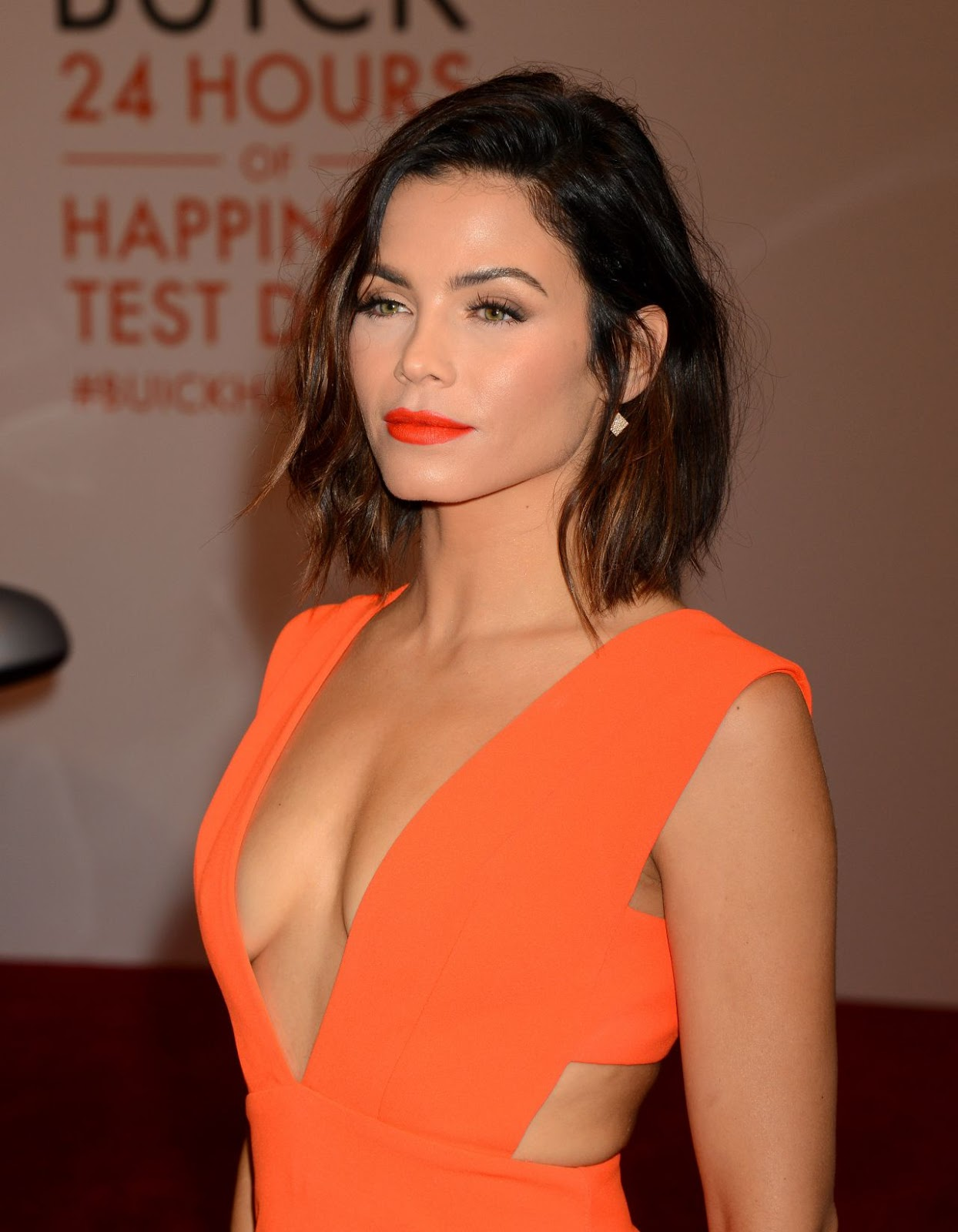 Jenna Dewan Tatum in a plunging dress at '24 Hours of Happiness' Test Drive Launch Event