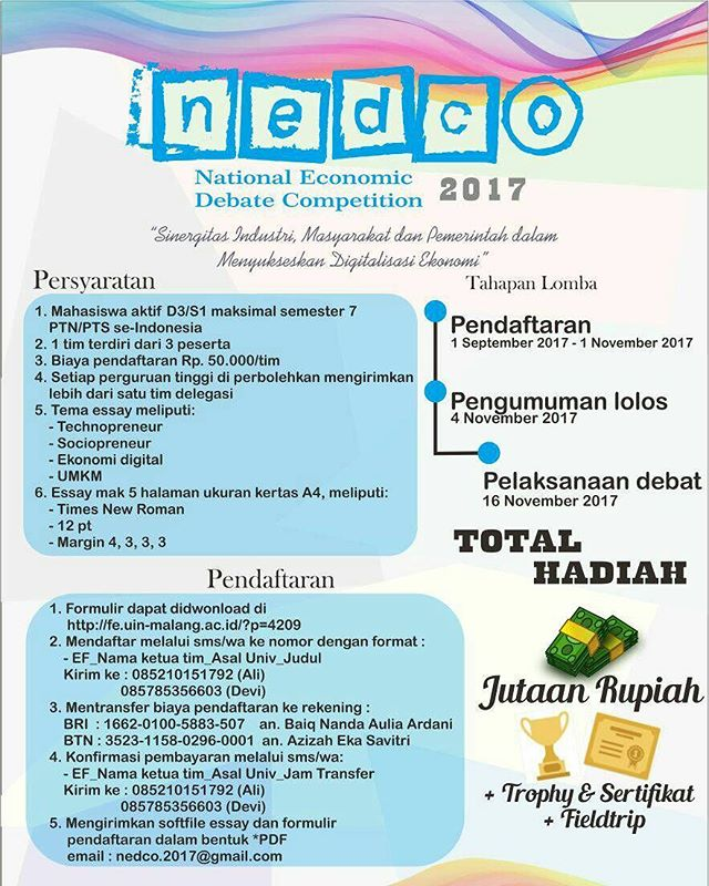 National Economic Debate Competition (NEDCO) 2017 | UIN Maulana Malik Ibrahim Malang | Mahasiswa